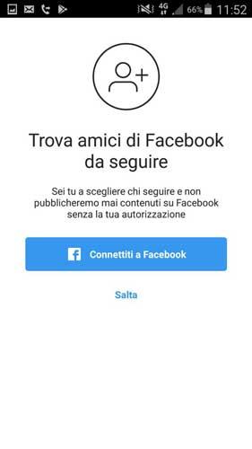 connettiti a facebook