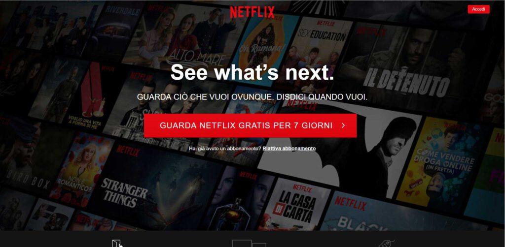 Netflix - gratuito per 7 giorni