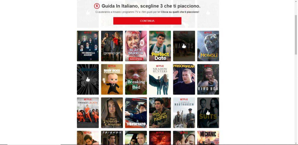 Netflix - scelta tre programmi tv