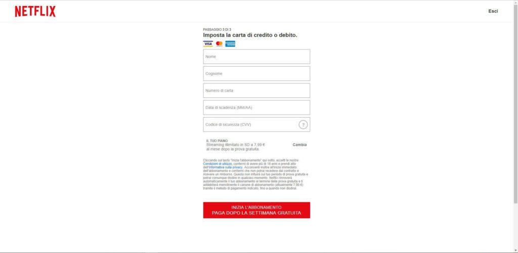 Netflix - Pagamento visa