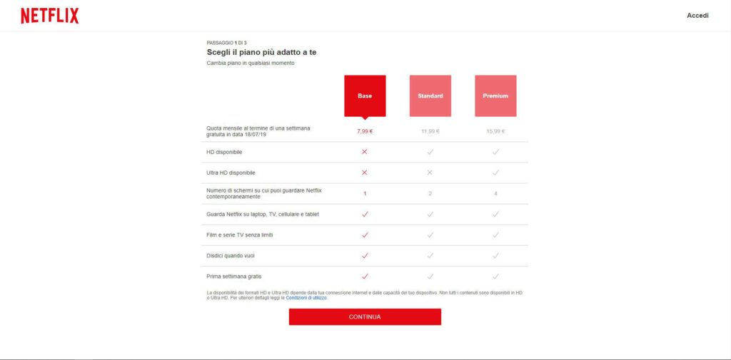 Netflix - piani: Base Standard e Premium