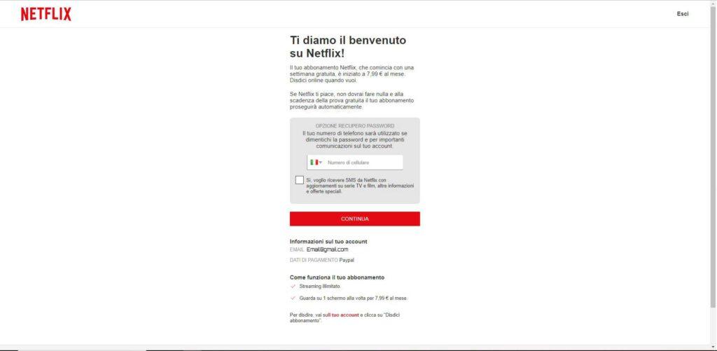 Netflix - numero di recupero password