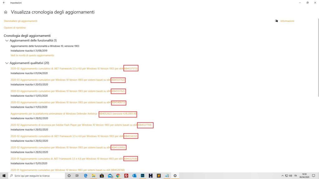 codice aggiornamenti windows 10