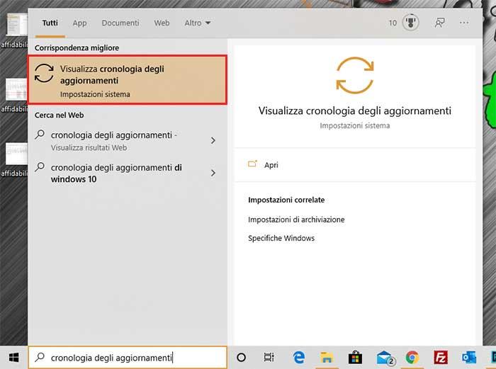 cronologia aggiornamenti windows 10