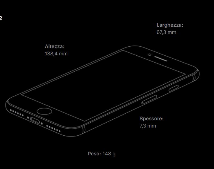 iPhone SE 2020 dimensioni e peso