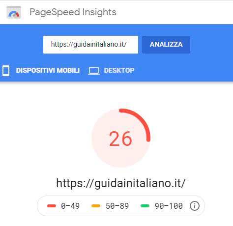 Ottimizzazione sito test 1 page speed mobile